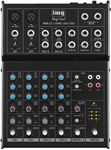IMG STAGELINE MMX-22 4-Kanal-Audio-Mischpult mit 6 Eingängen, schwarz (Dj-audio-recorder)