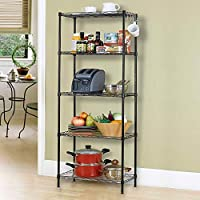 5-Tier Wire Shelving bathroom storage 5 Shelves Unit Metal kitchen Storage Rack