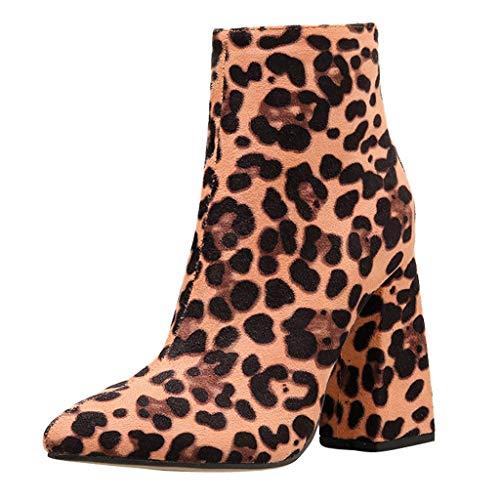 Dorical Damen Fashion Stiefeletten/Damenschuhe Ankle Stiefeletten Kurzschaft Wildleder Leder mit Absatz Kurze Reissverschluss 11.5 cm Winter Leopard Sexy Stiefel Gr 35-42(Braun,36 EU)