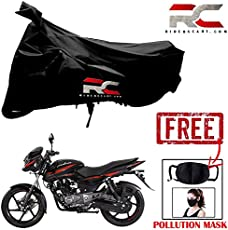 Riderscart Two Wheeler Cover Premium Bike Cover with Pollution Mask Combo for Bajaj Pulsar 150 … (Black)