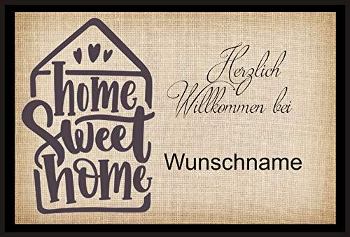 crealuxe Fussmatte - Herzlich Willkommen Home Sweet Home .mit Wunschname - Fussmatte Bedruckt Türmatte Innenmatte Schmutzmatte lustige Motivfussmatte