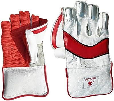 Cricket Wicket manteniendo guantes, piel auténtica, Test estándar, pulpo de goma tamaño de la palma de la mano, los hombres