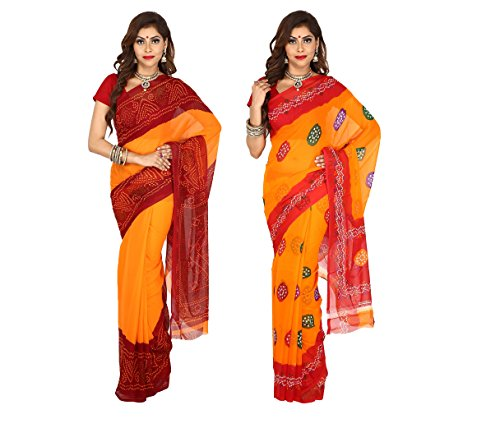 Women's Faux Georgette Set of 2 Multi-Coloured Bandhej Daily Wear Saree Combo...