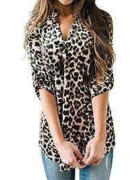 b5f54263c Shmily Girl Mujeres Camisa Elegante Blusa Mangas Largas Camiseta Polsillo  Escote V