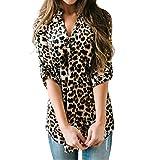 Mujeres Camisa Elegante Blusa Mangas Largas Camiseta Polsillo Escote V (Leopardo, XXL/EU 48-50)