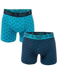 Original Penguin Mens Print 2 Pack Boxer Shorts in Blue