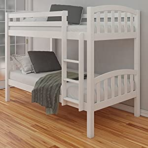 Happy Beds American Solid White Wooden Bunk Bed 2x Orthopaedic Mattress Bedroom