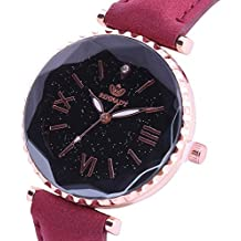 Watopi Reloj de pulsera analógico de cuarzo con diseño casual y prisma de cristal, dial