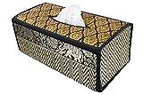 Tissue box Kosmetiktücherboxen Gewebe Kasten Abdeckung Gewebe Deckel Fall natürliche Weiden Reed ECO nachhaltiges Material und Plüsch SILK Trim Elephant Side (B Schwarz)