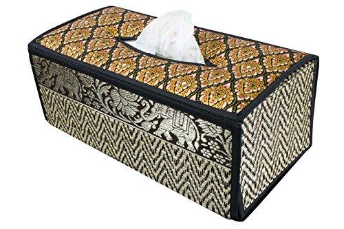 Tissue box Kosmetiktücherboxen Gewebe Kasten Abdeckung Gewebe Deckel Fall natürliche Weiden Reed ECO nachhaltiges Material und Plüsch SILK Trim Elephant Side (B Schwarz) - Box-plüsch