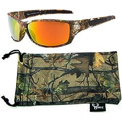 Hornz Brown Camuflaje del Bosque polarizados Gafas de Sol de Marco y de los Hombres Libres del Deporte a Juego Completa Bolsa de Microfibra – Marco de Marrón Camo - Lente Naranja