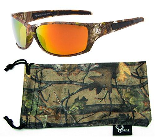Hornz Forrest braun Camouflage polarisierten Sonnenbrillen für Männer voller Sport Rahmen & freie passende Beutel aus Mikrofaser - Braun Camo Rahmen - Orange Linse