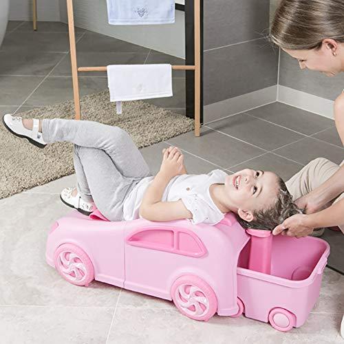 ZZYYZZ Baby-Duschsitz, Kindershampoo-Stuhl Shampoo-Bett Klappbett Bad Badewanne Geeignet für 1-12 Jahre alt,Pink
