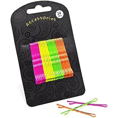 24 de neón de color rosa y amarillo y verde de color naranja de pelo de empuñaduras de madera sólida de