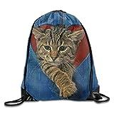 Bixungan Funny Cats Heart Print Drawstring Backpack Rucksack Shoulder Bags Gym Bag Sport Bag