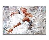 Sinus Art Wandbild 120x80cm Fotodruck aus Ölgemälde – Ballerina auf Leinwand für Wohnzimmer, Büro, Schlafzimmer, Ferienwohnung u.v.m. Gestochen scharf in Top Qualität