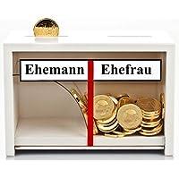 Geschenke 24: Spardose Hochzeit weiß Holz ==> Geld rutscht immer nur zur Ehefrau | Lustiges Geldgeschenk & Hochzeitsgeschenk