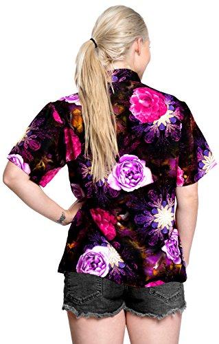 La Leela Hawaiihemd Blusen Knopf Unten Strandkleid Frauen mit Kurzen Ärmeln Lager Blau Violett