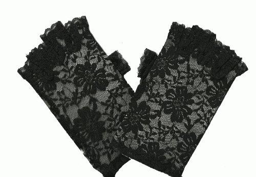 80's Black Lace Fingerless Gloves for Madonna Dress-Up