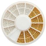1 Rondell Nailart Microperlen in Gold und Kristall Silber - Miniperlen Nailart Dekoration