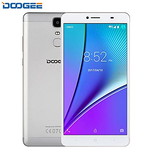 SIM Free Mobile Phones, DOOGEE Y6 Max Android 6.0 Smartphone, Dual Sim Cell Phone unlocked 4G SIM-Free - FHD 6.5 Inch Display - 3GB RAM + 32GB ROM - 5MP + 13MP Camera Lens – 4300 mAh - Silver