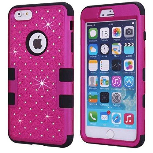 iPhone 6S Plus-Fall, iPhone 6 Plus Bling Fall, Lantier [weich hart Tough Case] Designer Kristallbling Hybrid-Rüstungs-Kasten-Abdeckung für iPhone 6 / 6S plus 5,5 Zoll Hot Pink-Schwarz Crystal Bling Black+Fuchsia
