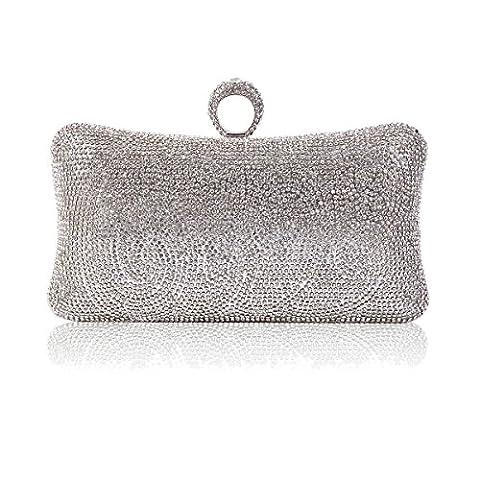 Damara Womens Rhinestone Pillow-Shaped One-ring Evening Bag,Silver