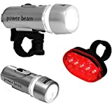 BICYCLE HEAD & REAR LIGHT 7 MODES WATERPROOF BRIGHT 5 LED BIKE LIGHTS WIDE BEAM Fusion (TM)