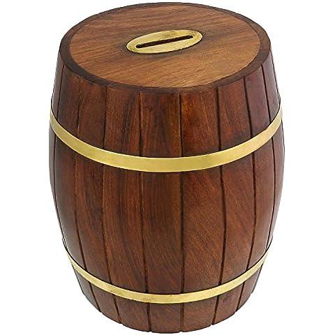 Caja de dinero seguro barril forma - las cajas de ahorros de madera tallado a mano - las embarcaciones de la hucha - diámetro de 10,2 cm