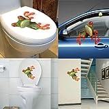 Sedeta® Adesivo da parete per toilette auto divertente 3D con rana sveglia Decalcomania impermeabile smontabile della casa della decorazione della stanza da bagno della casa di arte del vinile di alta