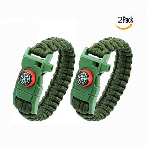 OFKPO 2 pcs Multifonctionnel Paracord Bracelet, Outdoor Survival Kit Parachute Cord Buckle avec Boussole Scraper Whistle, Corde de Survie d'Urgence