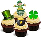 ST PATRICKS DAY MIX 2-12 Edible Stand Up Premium Wafer Cake Toppers - DIA DE SAN PATRICIO MEZCLA DOS 12 Decoraciones comestibles de oblea para magdelenas
