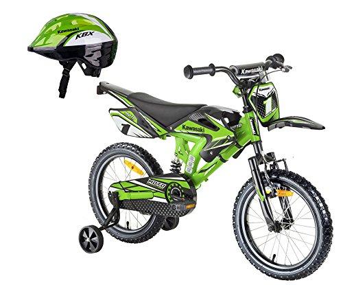 Kawasaki Kinderfahrrad BMX-Fahrrad Sairensa Moto 16 Zoll grün und Fahrradhelm Shikuro grün Gr. 50-52