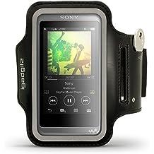 igadgitz Negro Reflectantes Brazalete Armband Deportivo para Sony Walkman NW-A35 NW-A40 Reproductor de MP3 Correr Gimnasio Funda Carcasa Con Clave Ranura