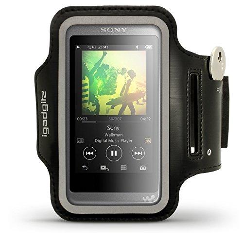 igadgitz Reflektierenden Schwarz Sports Jogging Armband Laufen Fitness Oberarmtasche für Sony Walkman NW-A35 NW-A40 MP3-Player Mit Schlüsselfach