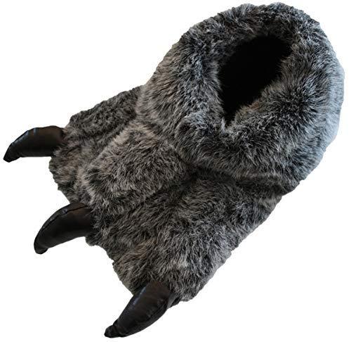 Jungen Und Herren Monster-kralle Yetti fuß Neuheit Warm Flauschig Hausschuhe Größe UK 1-12 - Grau Schwarz, Grau Schwarz, 42 (UK 8) (Fuß Monster Hausschuhe)