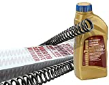 WIRTH-Federn Set: Spezial-Gabelöl + Motorrad Gabelfeder 2085 für Honda, Kawasaki, Moto Guzzi, ABE, 1 Satz = 2 Stück