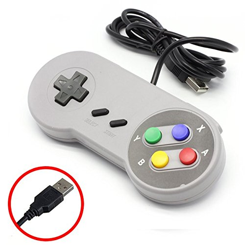 DP Design Mando USB de consola SNES, diseño clásico Mame Raspberry Mame de Nintendo para PC, MAC o Android