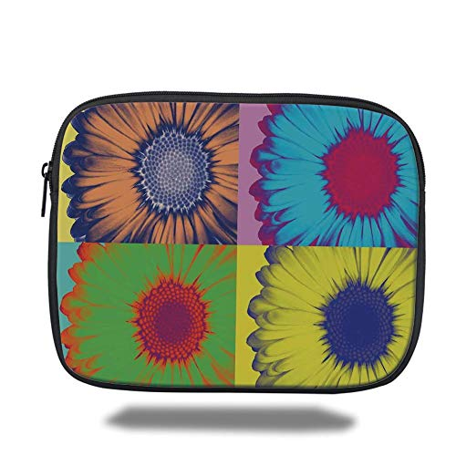 Laptop Sleeve Case,Modern Art Home Decor,Pop Art Inspired Colorful Kitschy Daisy Flower Hard Edged Western Design,Multi,Tablet Bag for Ipad air 2/3/4/mini 9.7 inch