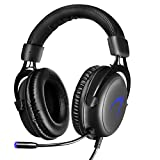 Gaming Headset PC, 7.1 Surround Sound Gaming Kopfhörer, JIEJIEWYD USB Headset mit Mikrofon LED-Licht(Schwarz/Blau)