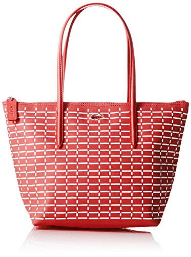 Lacoste NF1896CF, Borsa a Tracolla Donna, 24.5 x 14.5 x 23.5 cm Teaberry BIANCO (Teaberry White)