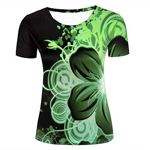 Womens 3d t-shirt print nature green flower petals florets short sleeve casual tees fashion couple tees tops m