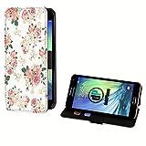 deinPhone Samsung Galaxy S2 Kunstleder Flip Case Blumengestecke Weiß