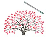 EQLEF® Los 30X40CM de la boda de la huella digital Libro árbol, huella digital Tree Guest Firma libro Árbol de bricolaje fuentes de la boda