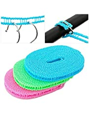 Wishbone 5 Meters Windproof Anti-Slip Clothes Washing Line Drying Nylon Rope with Hooks 5 Meter Nylon Clothesline Rope (Color May Vary)