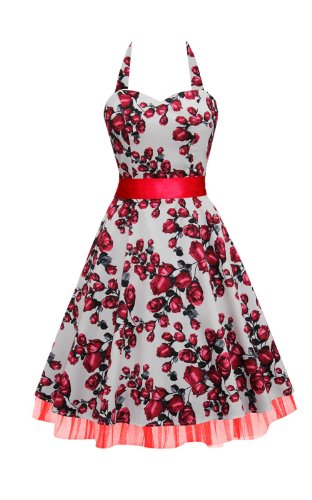 BlackButterfly 'Rhya' Serenity Vintage Rockabilly Floral Halter Neck Dress