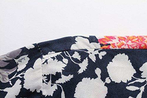SSLR Homme Chemise Casual Manche Longue à Fleurs en Coton Bleu Blanc