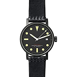 Void V03M-BL/TB Black Leather Strap Band Black Dial Watch