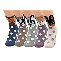 V28 Women's Cute Socks with Various Pattern Mixed Colors (One Size, 5dogsWithPolkadots)