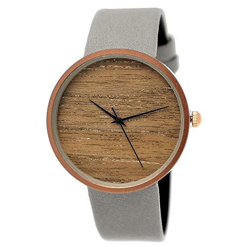Elegante Pure Time® Designer Damen-Uhr Öko Natur Holz-Uhr Armband Uhr Analog Klassisch Quarz-Uhr Armbanduhr Schwarz Braun Beige Grau Khaki Leder-Armband Holz Ziffernblatt Rose-Gold (grau-Grey)
